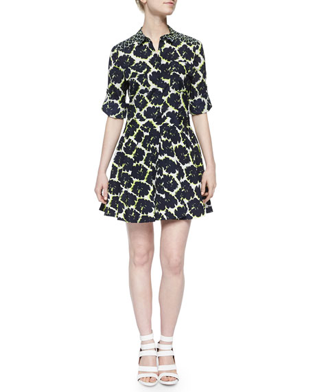 DKNY Long-Sleeve Mixed-Print Shirtdress