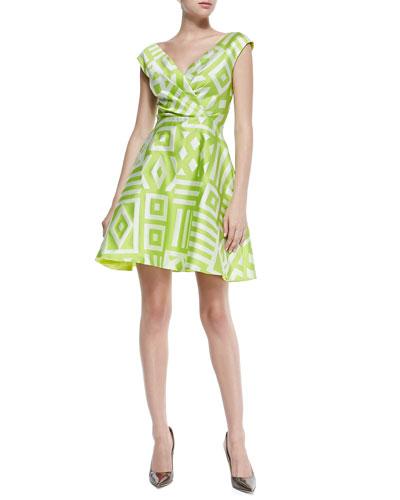 Geometric V-Neck Flare Dress