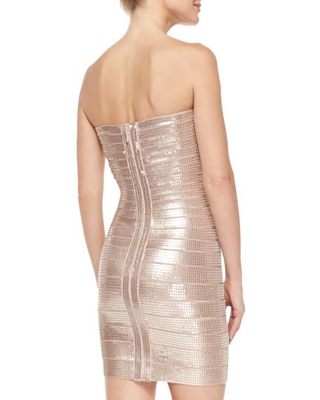 Nazik Sequin Bandage Dress, Bare Combo
