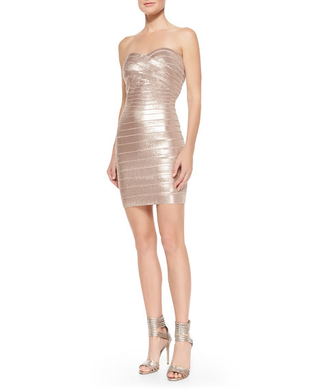 Herve Leger Nazik Sequin Bandage Dress, Bare Combo
