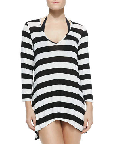 Long-Sleeve Striped Jersey Tunic