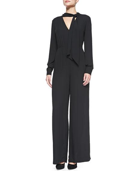 Sabrinah Long-Sleeve Jumpsuit W/ Tie Neck