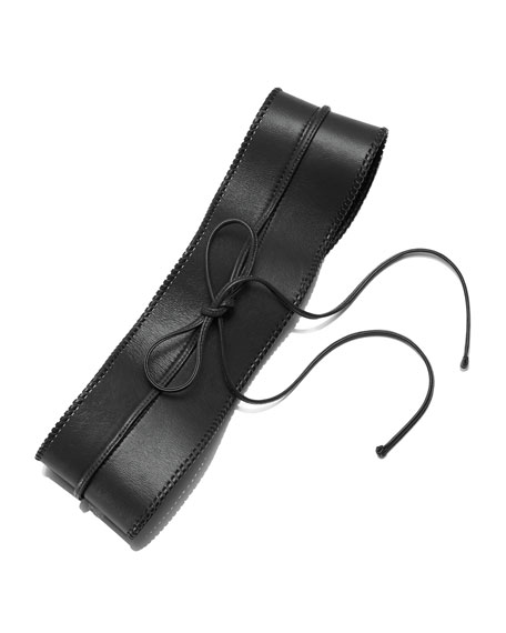 Lafayette 148 New York Leather Obi Belt, Black, Women's