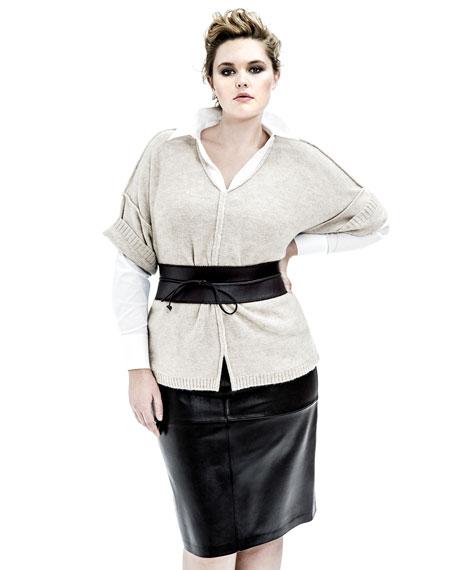 Leather Obi Belt, Black, Women's