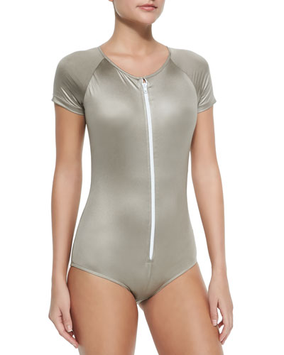Short-Sleeve Zip Swimsuit, Metallic