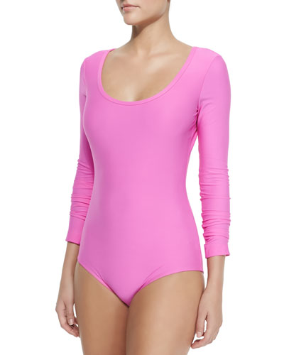 Long-Sleeve One-Piece Ballet Swimsuit, Pink
