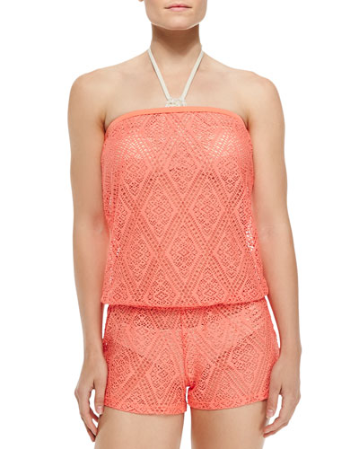 Strapless Diamond Lace Romper