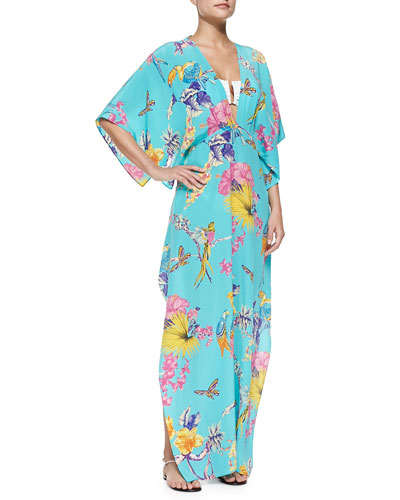 Tropic-Print Caftan W/ Back Neck Tie