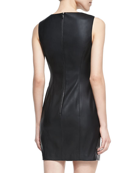 Faux-Leather Fitted Dress
