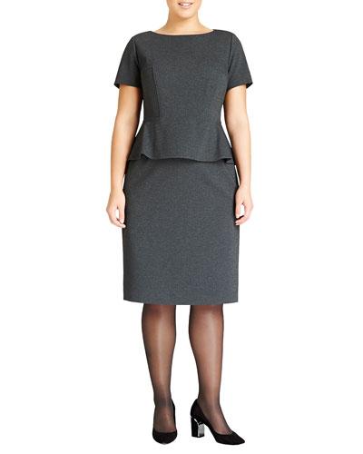 Lafayette 148 New York Punto Milano Peplum Dress, Smoke, Women's