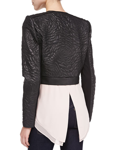 Duke Floral-Embroidered Faux Leather Jacket