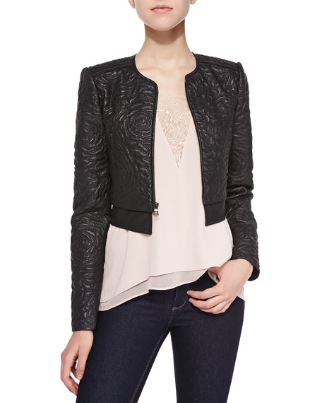 BCBGMAXAZRIA Duke Floral-Embroidered Faux Leather Jacket