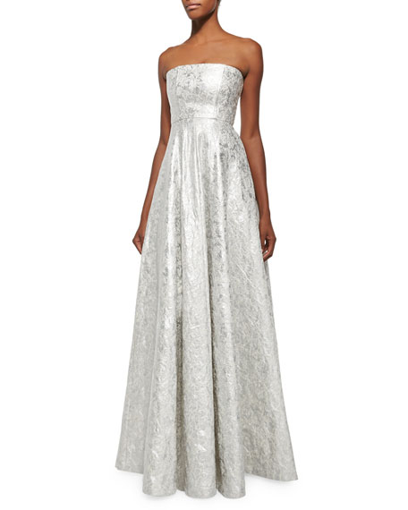 Alexis Meri Strapless Metallic Embroidered Ballgown