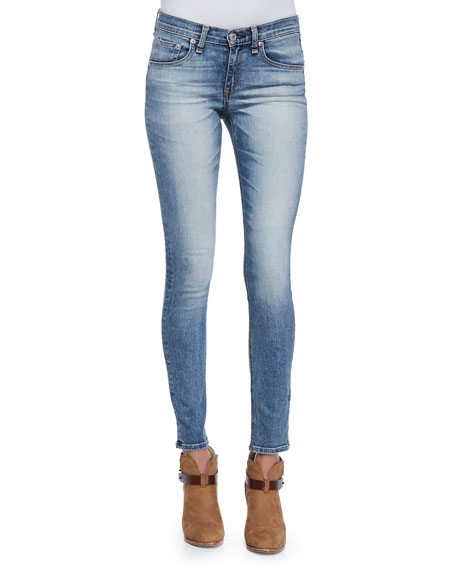 Surf Skinny Mid-Rise Jeans, Faded Blue