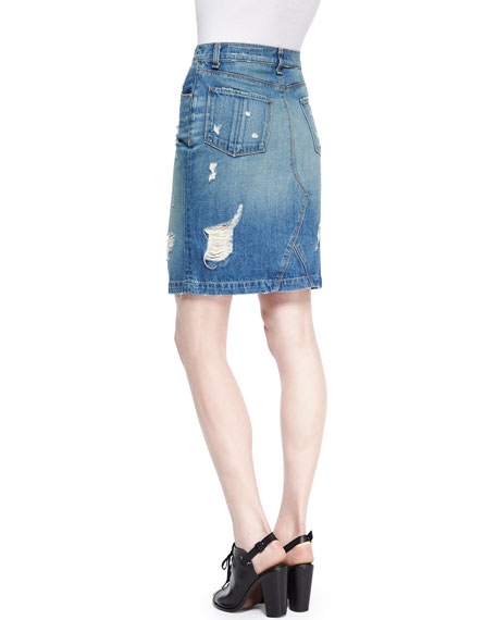 rag bone jean destroyed denim pencil skirt