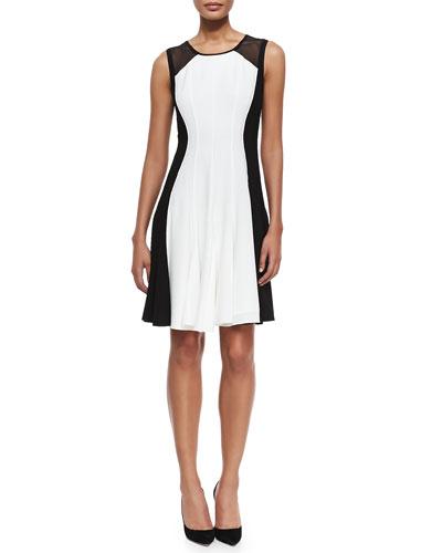 Elie Tahari Pattie Sleeveless Flared Colorblocked Dress
