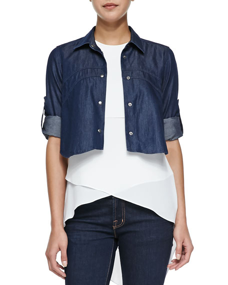 Haydin Cropped Snap-Down Denim Shirt