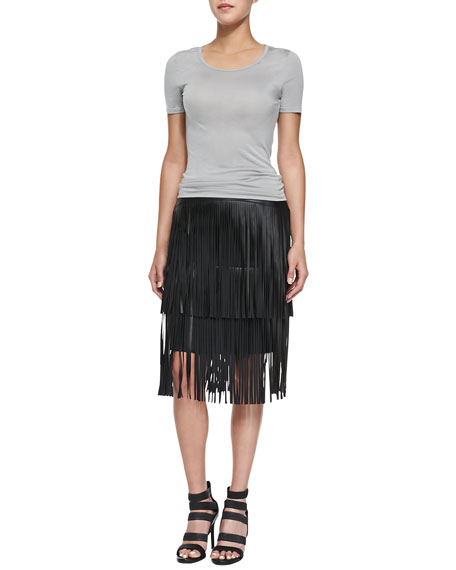 Rashell Fringe Faux-Leather Pencil Skirt