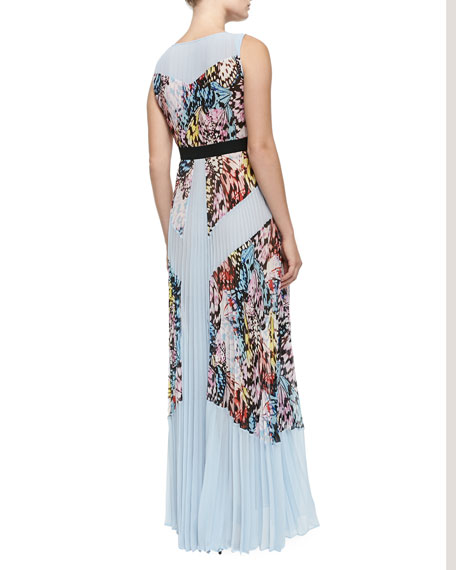 Kayda Pleated Butterfly-Print Maxi Dress