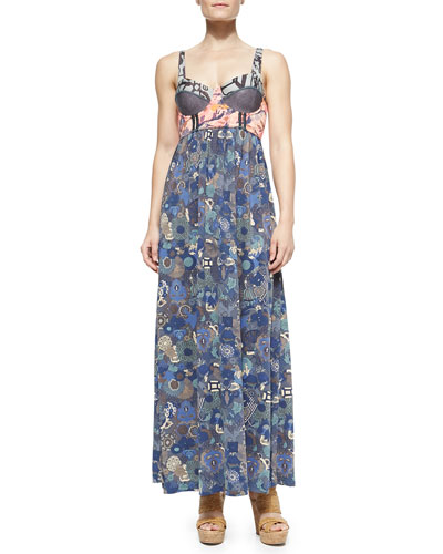 Mixed-Print Underwire Maxi Dress