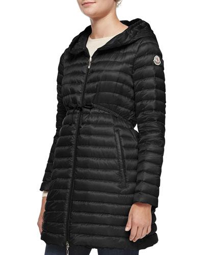 Barbel Hooded Down-Fill Knee-Length Jacket, Black