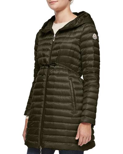 Barbel Hooded Down-Fill Knee-Length Jacket, Olive