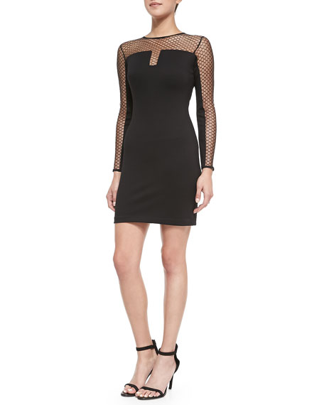 Amanda Uprichard Body-Con Dress with Mesh Sleeves