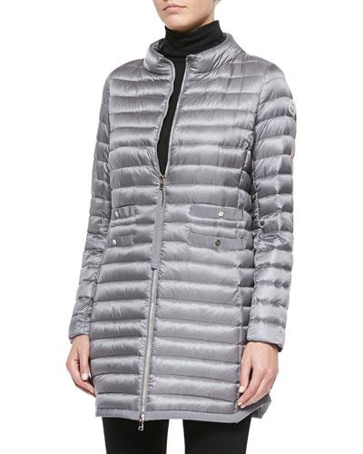 Aubry Long Mock-Neck Puffer Jacket, Light Gray