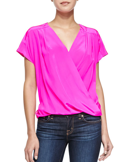 Dorset Short-Sleeve Silk Crossover Top