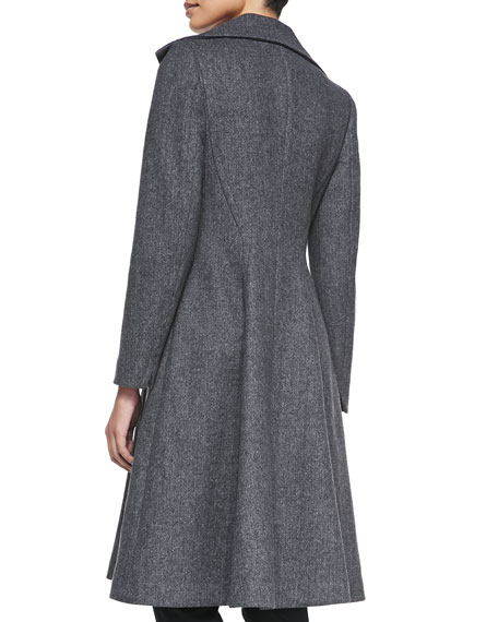 One-Button Knit A-Line Coat
