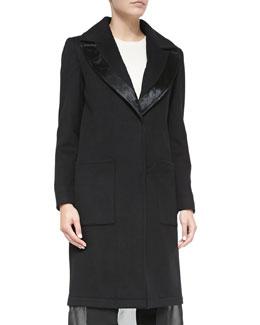 Wool Coat W/ Leather-Trim & Chiffon Hem, Black