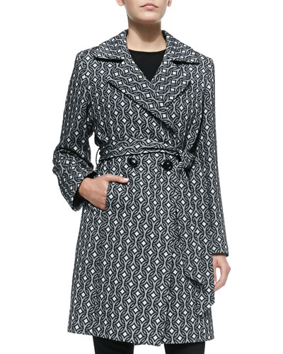 Neiman Marcus Graphic-Print Wool Double-Breasted Coat