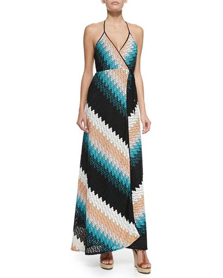 Damian Zigzag-Knit Halter Maxi Dress