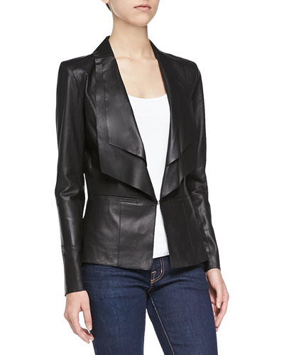 Long Leather Jacket W/ Double Collar, Black