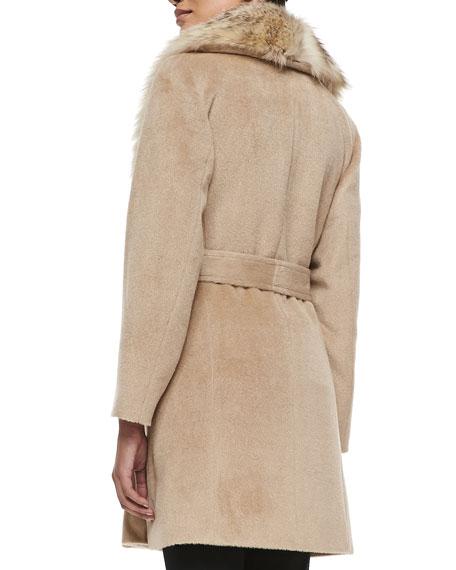 Fur-Collar Wrap Coat, Blonde
