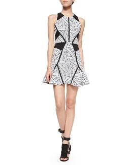 Neve Printed A-Line Halter Dress