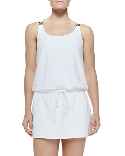 Watchband-Strap Drawstring Jersey Coverup, White
