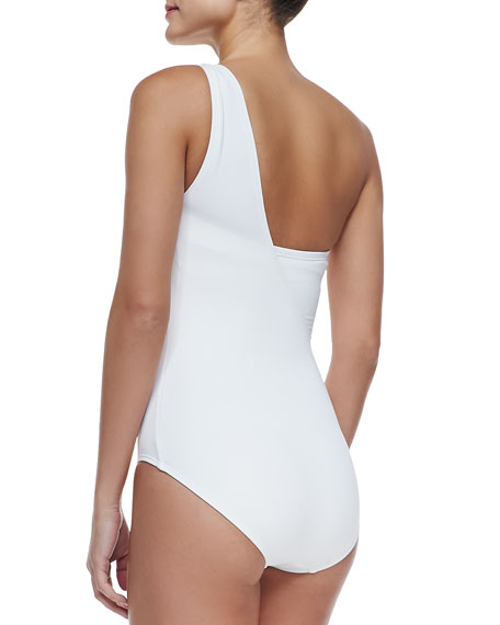 MICHAEL Michael Kors Watchband-Strap One-Shoulder Swimsuit
