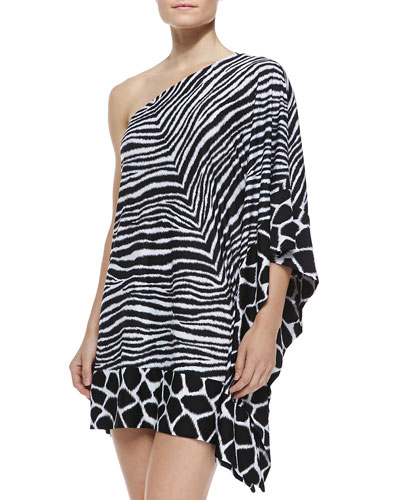 Zebra-Print One-Shoulder Coverup