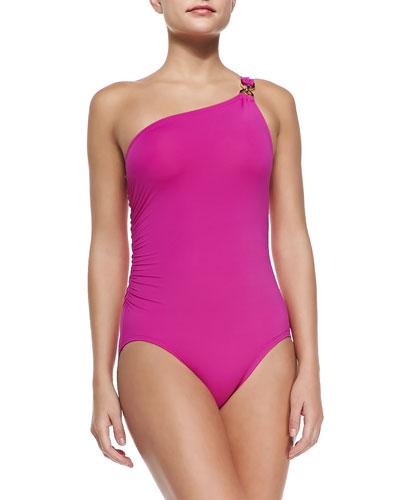 One-Shoulder D-Ring Maillot