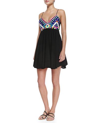Sleeveless Embroidered-Bodice Mini Dress