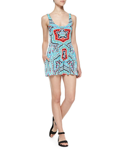 Scoop-Back Flared Printed Romper