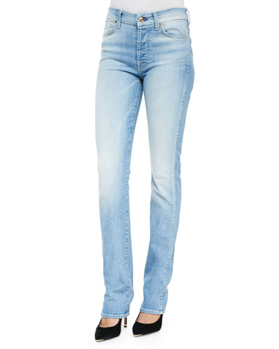 High-Waist Light-Wash Straight-Leg Jeans