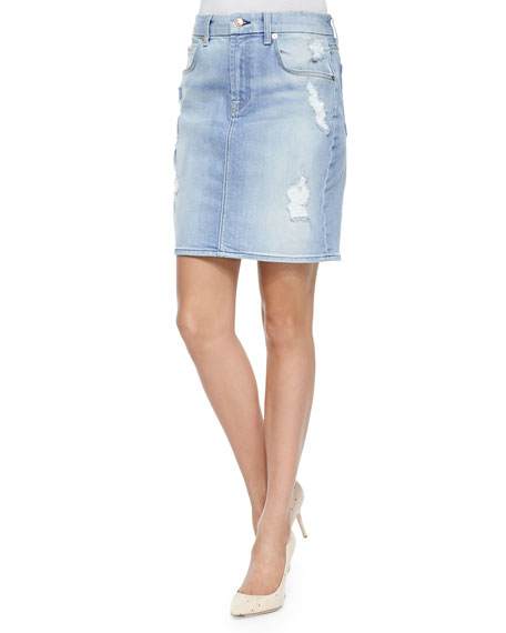 Distressed Denim Pencil Skirt