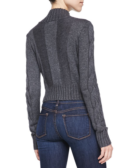 Mock-Neck Cropped Combo-Knit Sweater