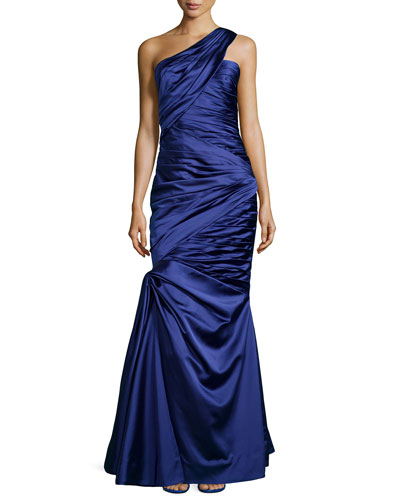 One-Shoulder Pleated and Draped Gown