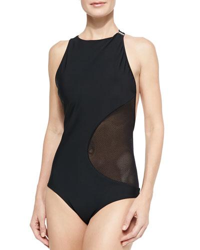 Cutout/Mesh One-Piece Swimsuit
