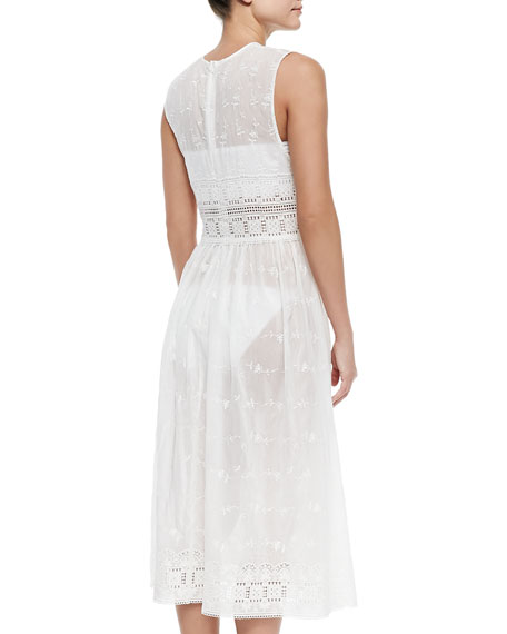 Embroidered Eyelet Voile Coverup Dress