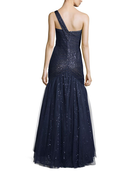 One-Shoulder Gown with Tulle Overlay