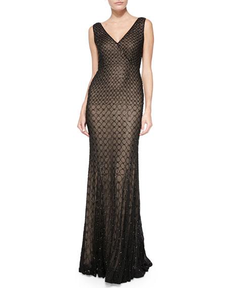 Rachel Gilbert Willow V-Neck Embellished Georgette Gown, Black